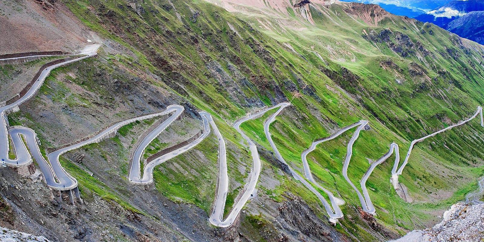 serpentine mountain road in Italian Alps, Stelvio pass, Passo de